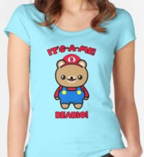 Cute Kawaii Bear Funny Mario Parody Women's Fitted Scoop T-Shirt