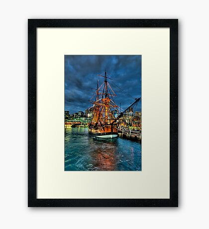Ghost Ship - HMB Endeavour, Australian National Maritime Museum, Sydney - The HDR Experience Framed Print