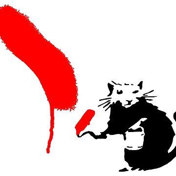 "Banksy - ""Rat Painting Red""  by streetartfans"