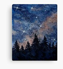 Pine trees and galaxies watercolor painting by Bazil Zerinsky Canvas Print