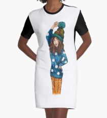 Funny girl with hat Graphic T-Shirt Dress