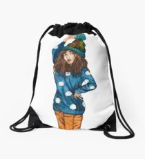 Funny girl with hat Drawstring Bag