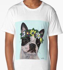 Cute Boston Terrier Art, Boston Terrier Flower Crown Long T-Shirt