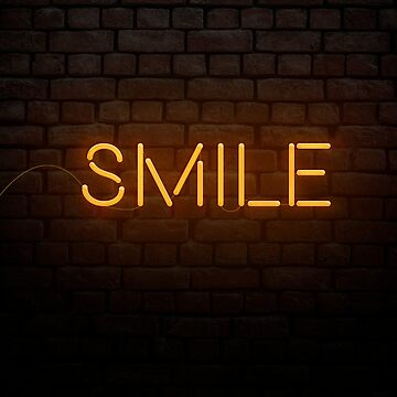 Smile word in Neon Style orange light by paulrommer