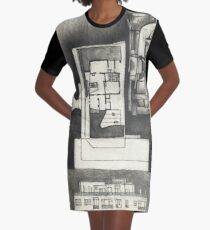 Architectural shapes on a black background Graphic T-Shirt Dress