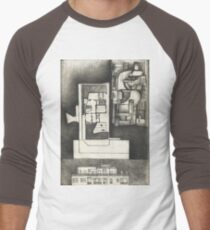 Architectural shapes on a black background Men's Baseball ¾ T-Shirt