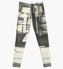 Architectural shapes on a black background Leggings