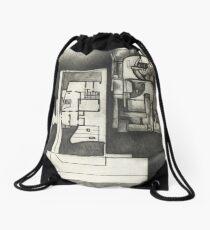 Architectural shapes on a black background Drawstring Bag