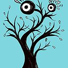 Excited Tree Monster Ink Drawing by Boriana Giormova