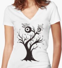 Excited Tree Monster Ink Drawing Women's Fitted V-Neck T-Shirt