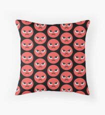 Red Angry Face Throw Pillow
