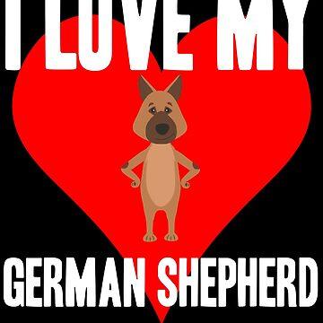 German Shepherd Red Heart Cartoon Shirt Design by Joeby26
