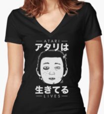 Atari Lives (black) Women's Fitted V-Neck T-Shirt