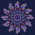 Red White And Blue On Blue Mandala 2 by Gypsykiss