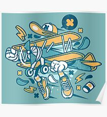 Funny Airplane Cartoon Poster