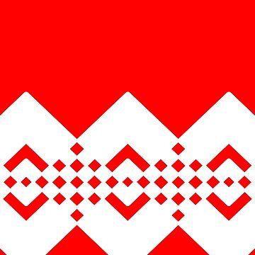 Abstract geometric pattern - red and white. by kerens