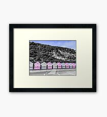 Bournemouth Beach Huts By A Chalky Hill Framed Print
