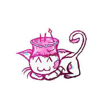 Pink Cake Cat Sticker by PikachuHat