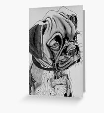 Black and white puppy portrait Greeting Card