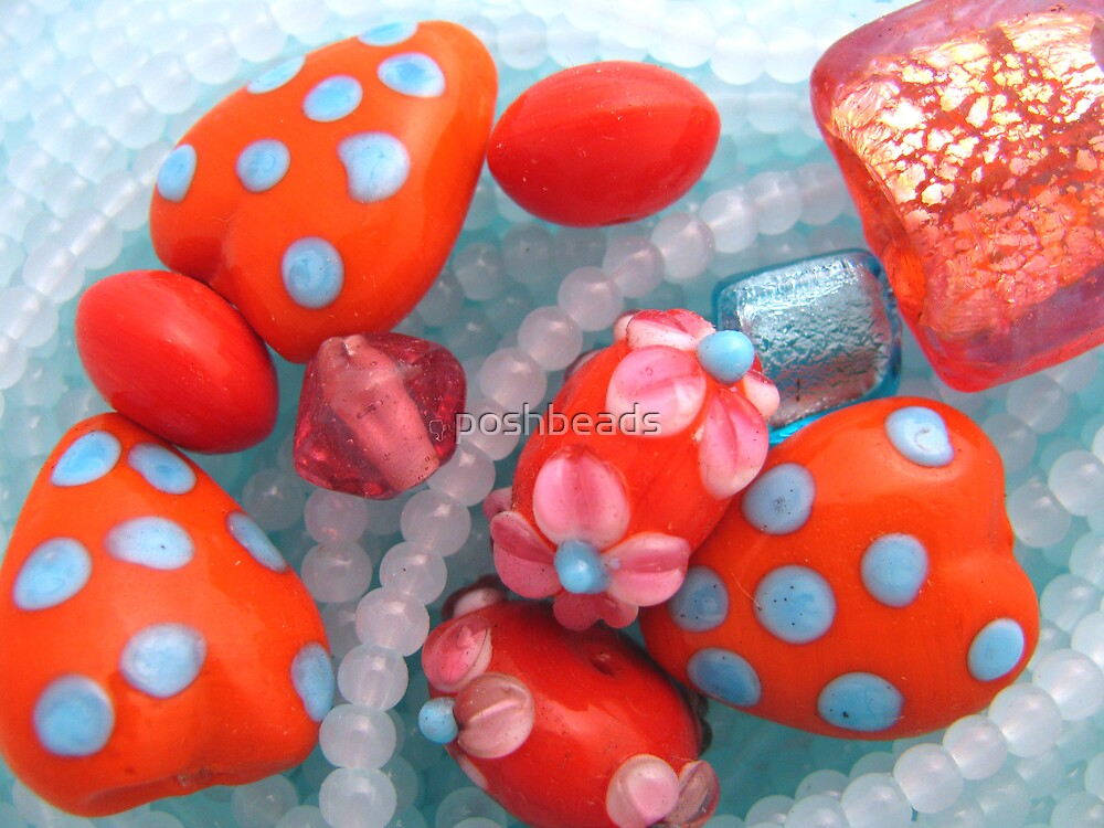 blue spots on red by poshbeads