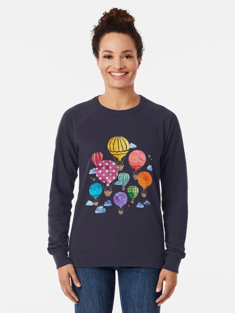 Alternative Ansicht von Heißluftballon Nacht Leichter Pullover
