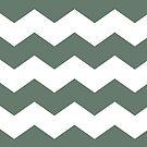 Dark Gray Green and White Chevron Print by itsjensworld