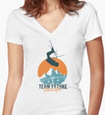 Team Fethke: Freestyle (Orange/Blue) Fitted V-Neck T-Shirt