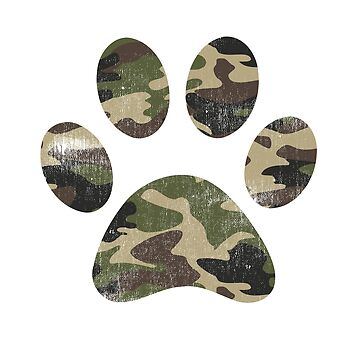 Vintage Camouflage Dog Paw Print Graphic  by DSweethearts