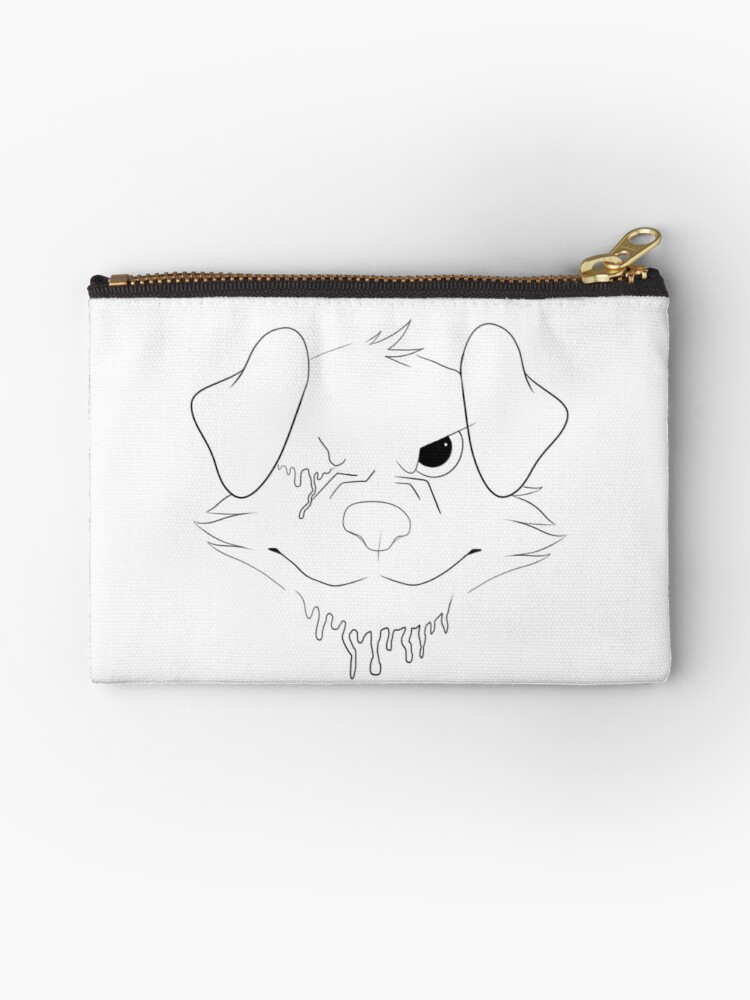 Drippy Dog Lineart Studio Pouches By Art Uproar