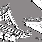 Kyoto Roofs in Grey and White by Bryan W. Cole