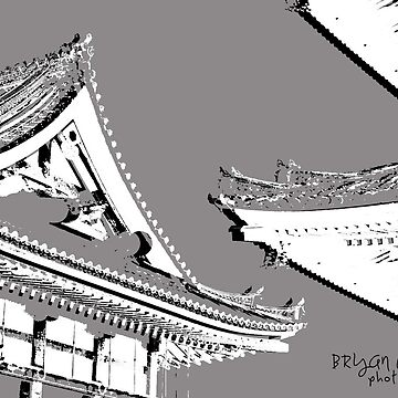 Kyoto Roofs in Grey and White by BryanSoCal