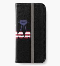 Flamingo plus Barbeque Merica American Flag Vinilo o funda para iPhone
