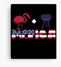 Funny Flamingo plus Barbeque Merica American Flag Lienzo