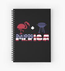 Funny Flamingo plus Barbeque Merica American Flag Cuaderno de espiral