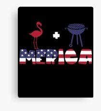 Flamingo plus Barbeque Merica American Flag Lienzo
