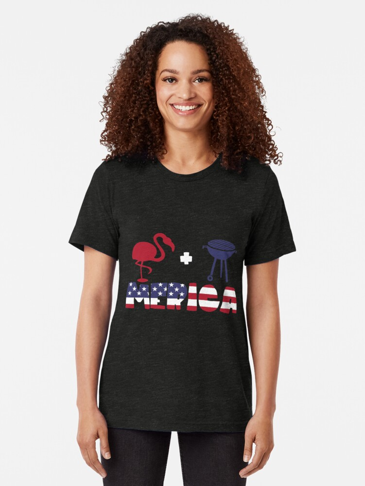 Vista alternativa de Camiseta de tejido mixto Funny Flamingo plus Barbeque Merica American Flag
