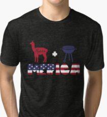 Alpaca plus Barbeque Merica American Flag Camiseta de tejido mixto