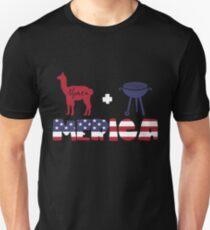 Alpaca plus Barbeque Merica American Flag Camiseta ajustada
