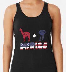 Alpaca plus Barbeque Merica American Flag Camiseta con espalda nadadora