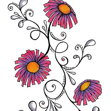 3 Flowers Drawing - Art&Deco By Natasha by ArtDecoNatasha