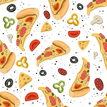 Pizza seamless pattern colorful food illustration by julkapulka