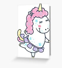 Magic white pink Unicorn cute illustration Greeting Card