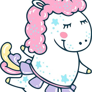 Magic white pink Unicorn cute illustration by julkapulka