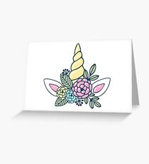 Magic white pink Unicorn horn with flowers cute illustration Greeting Card