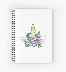 Magic white pink Unicorn horn with flowers cute illustration Spiral Notebook