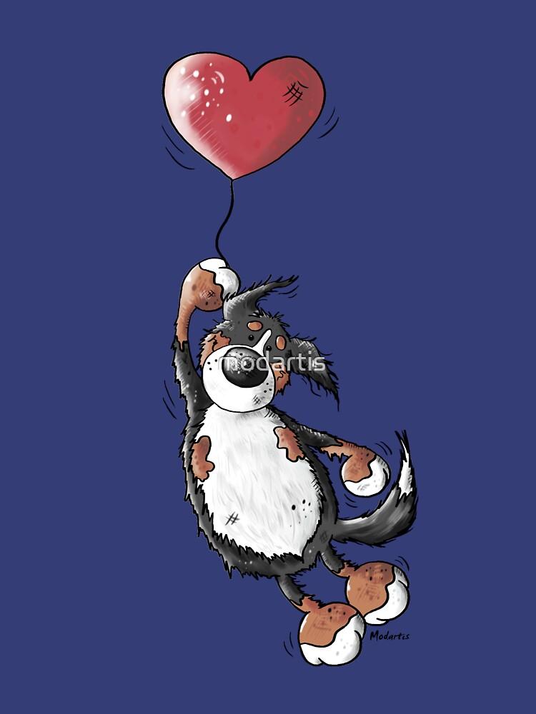 Flying Bernese Mountain Dog - Balloon - Heart - Comic - Gift by modartis