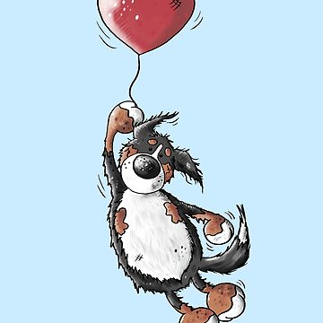 Flying Bernese Mountain Dog - Balloon - Heart - Comic - Gift by modartis