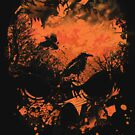 Skull with Crows - Distressed Grunge by Denis Marsili