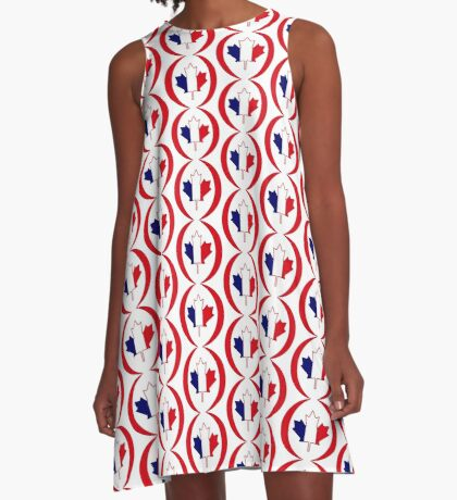 French Canadian Multinational Patriot Flag Series A-Line Dress