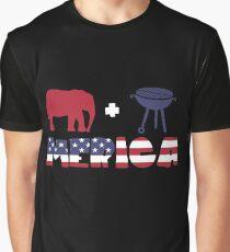Funny Elephant plus Barbeque Merica American Flag Camiseta gráfica